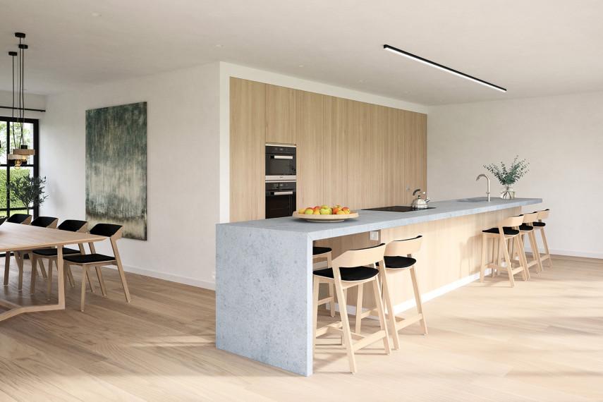 Mooie maatwerk keuken met betonnen keukeneiland