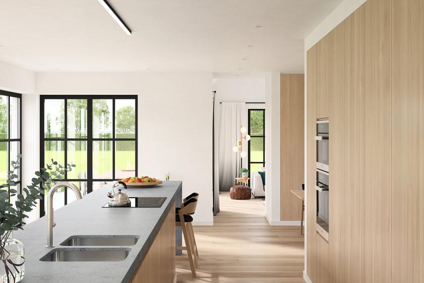 De keuken in eik krijgt een moderne RSV kraan