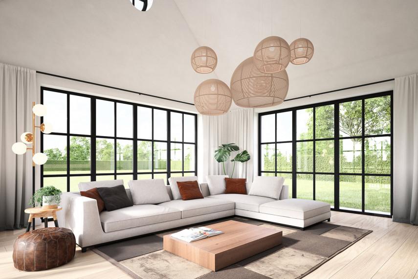De woonkamer van deze hoeve werd afgewerkt met kwalitatieve materialen