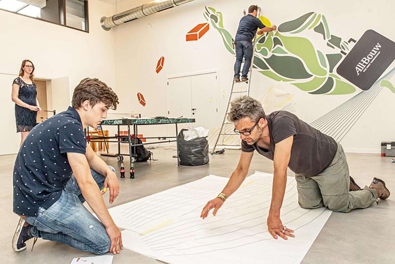 MSKA, samenwerking, aannemer, Iepersestraat, sportruimte, zevendejaars, graphic communication, studie, samenwerking, All-Bouw, leerkracht