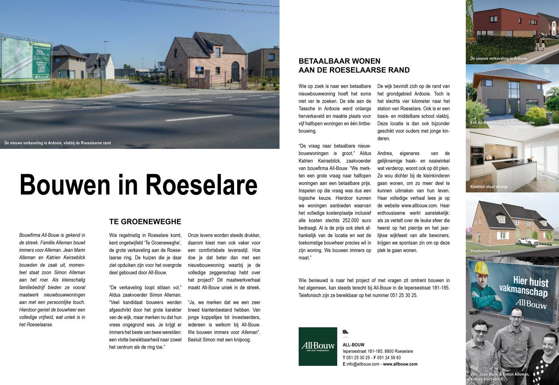 nieuwbouwwoningen West-Vlaanderen, huizen bouwen Roeselare, bouwen in Roeselare, verkaveling, betaalbaar wonen, betaalbaar bouwen, energiezuinig bouwen, duurzaam bouwen, waterdichte woning, winddichte woning, aannemer bouw