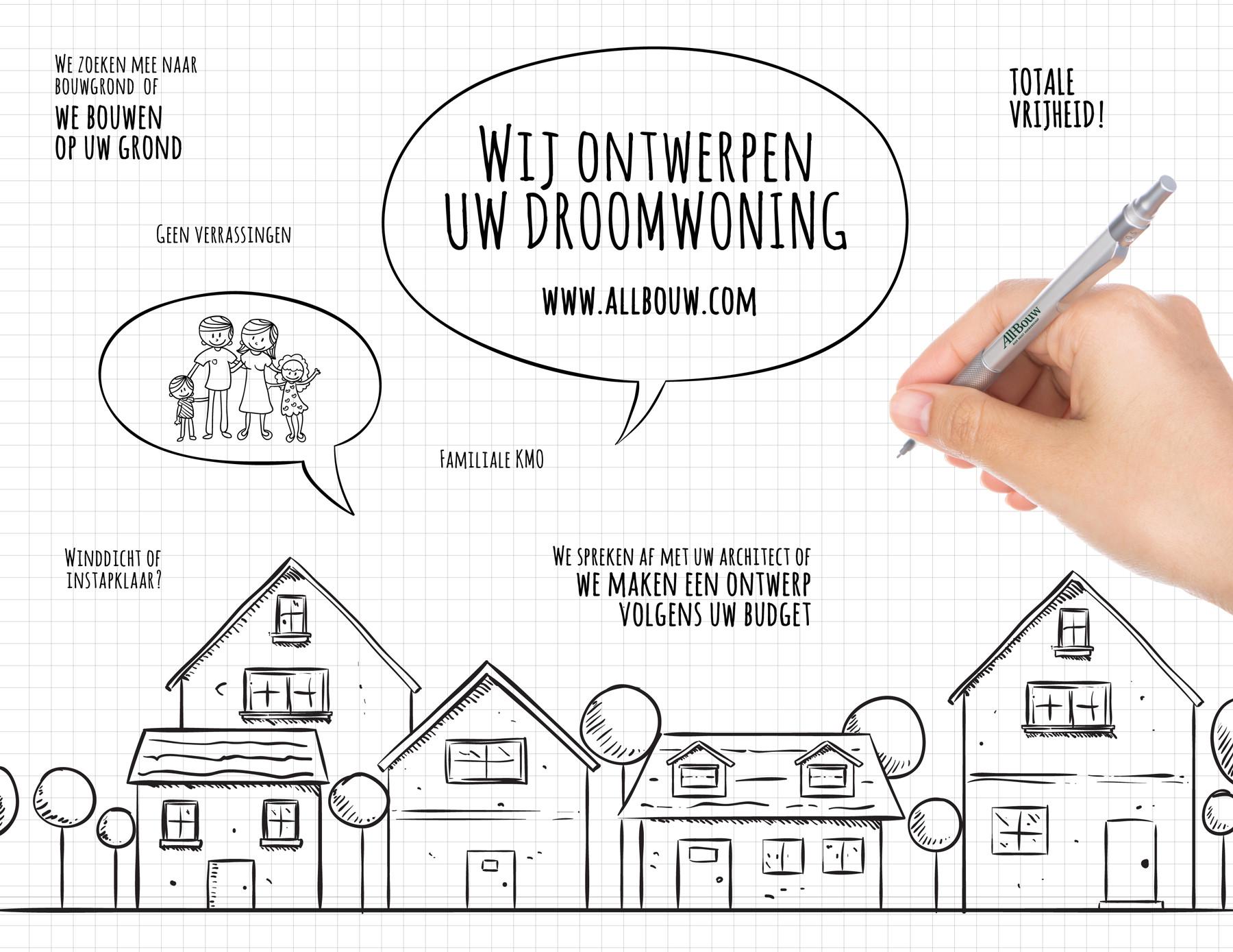 Grafische visual van het concept 'bouwen op maat' bij All-Bouw