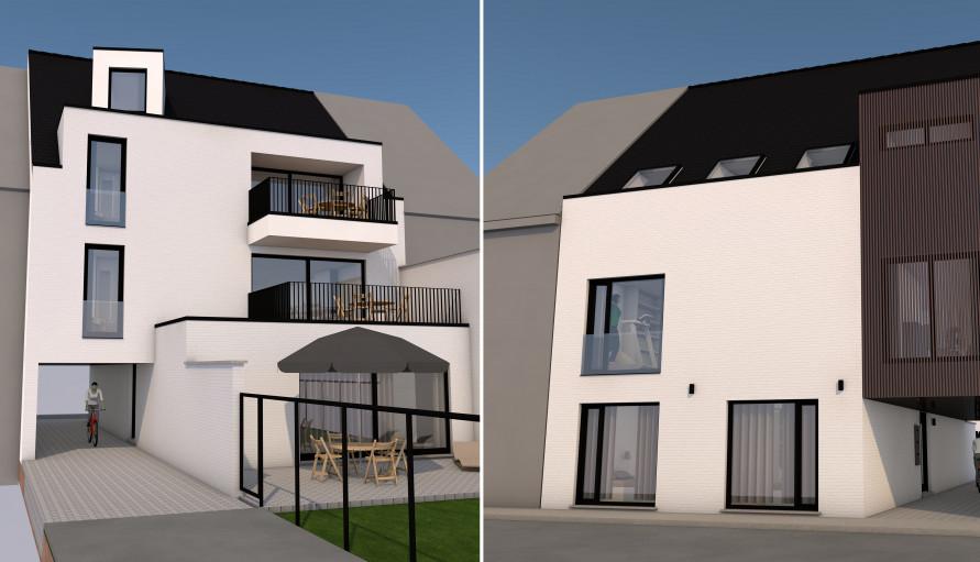 3D-ontwerp voor een heropbouw-project in de Bavikhoofsestraat in Kuurne door bouwbedrijf All-Bouw