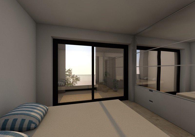 3D slaapkamer ontwerp van een rijwoning met een lift