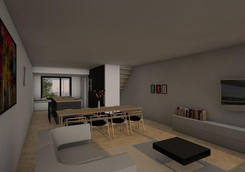 3D woonkamer en keuken van een rijwoning met lift