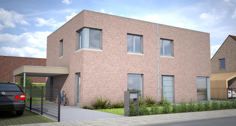 Een 3D ontwerp voor een betaalbare halfopen nieuwbouwwoning in de Kampstraat in Staden