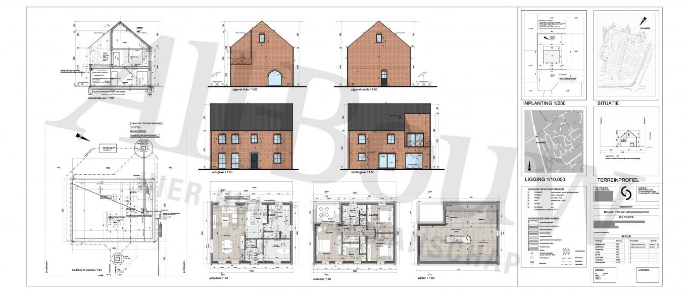 Volledig uitvoeringsplan van een nieuwbouwwoning bij All-Bouw ondertekend door de bouwheer