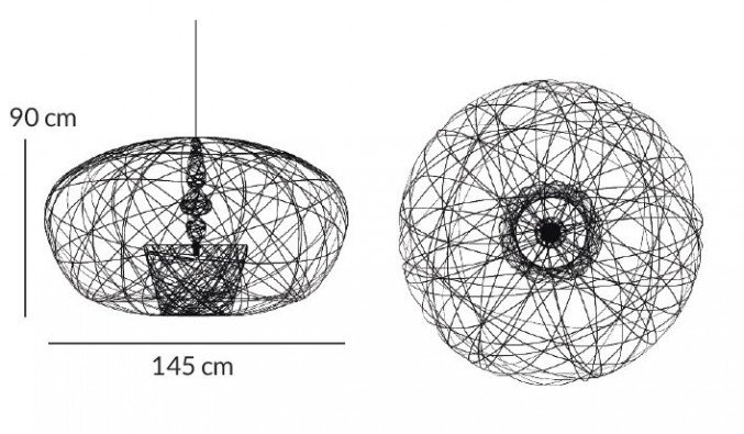Lightornament ceiling lighting cetus large measurements, carbon decoration