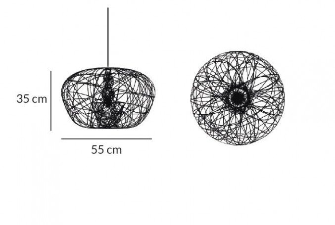 Lightornament ceiling lighting cetus small measurements, carbon decoration