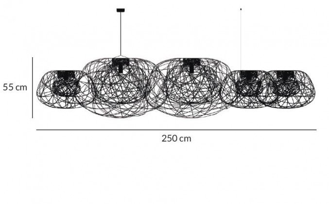 Lightornament ceiling lighting combination 1 side view measurements, carbon decoration