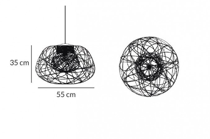 Lichtornament plafondverlichting indus zwart small afmetingen, carbon decoratie