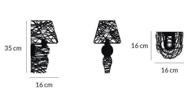 lightornament wall lighting lyra black overview small measurements, carbon decoration