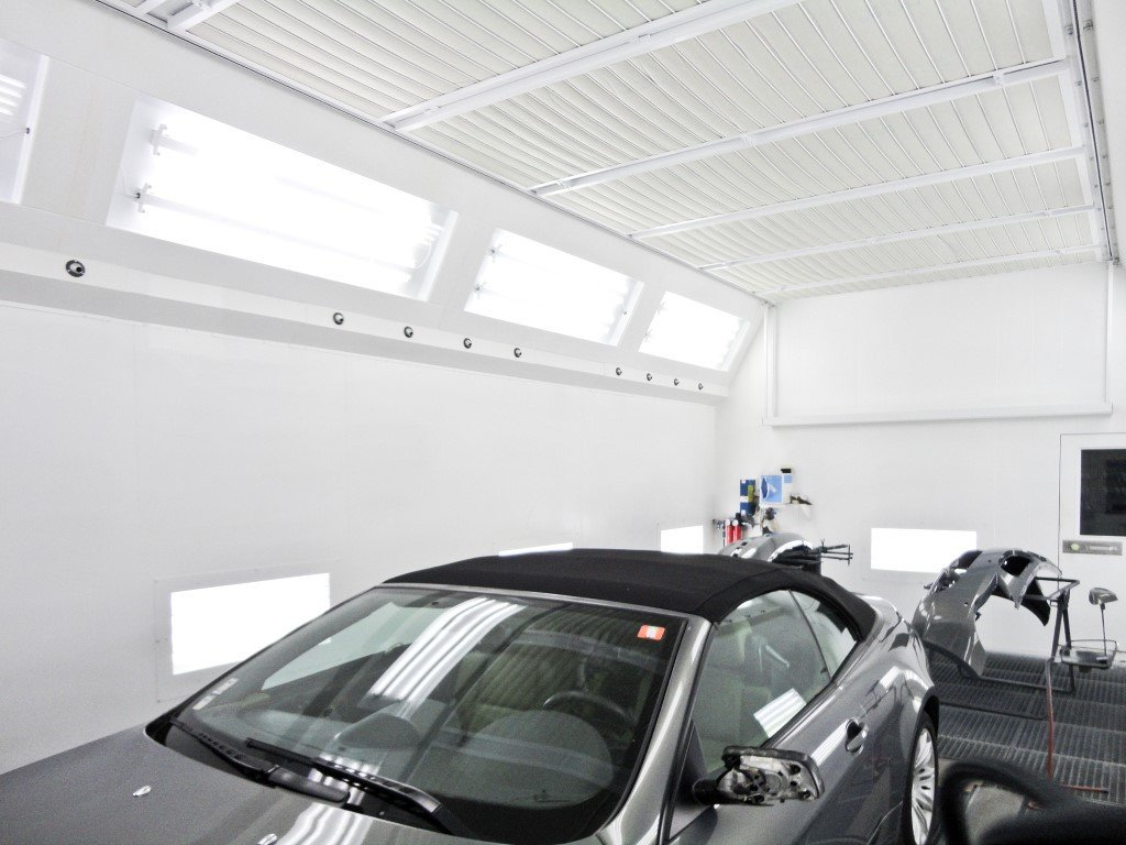 Speed dry spray booth for auto body shop including a quick dry system