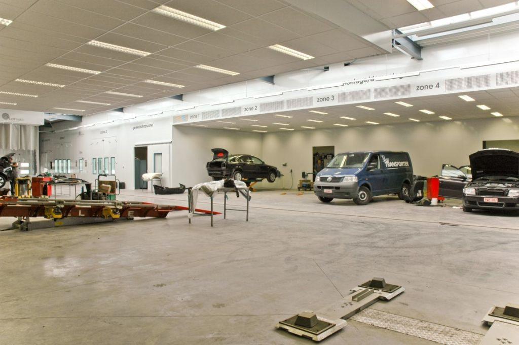 Sanding bays in auto refinish shop