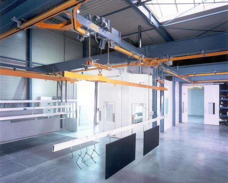 Circuit de monorail manuel avec palonniers: cabine de peinture et cabine de séchage