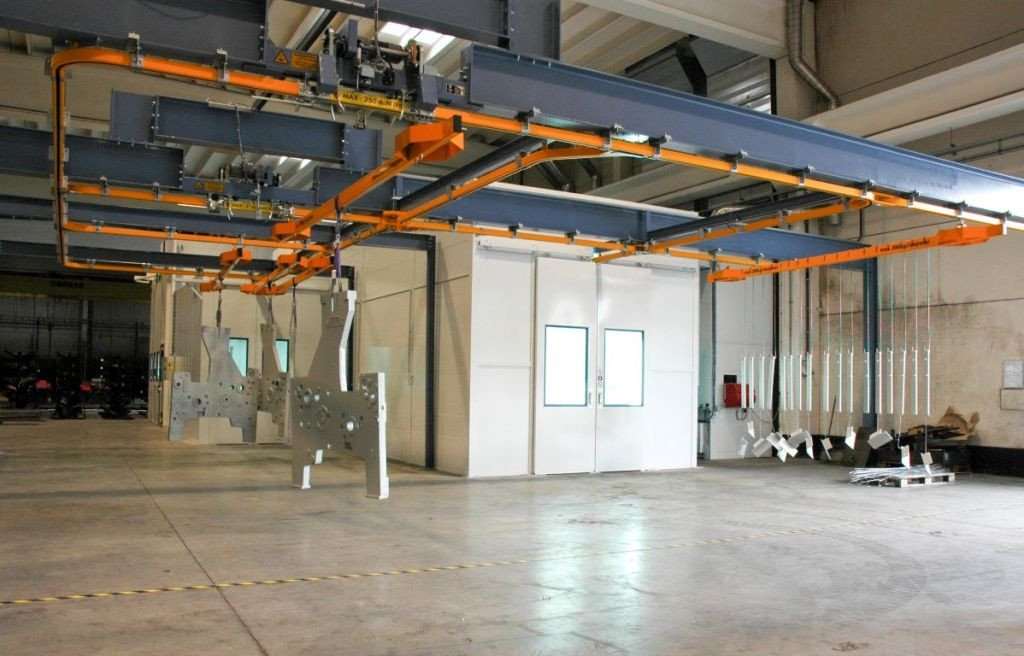Coating plant: separate big spraybooth and conveyor going through a second paintbooth and drying room
