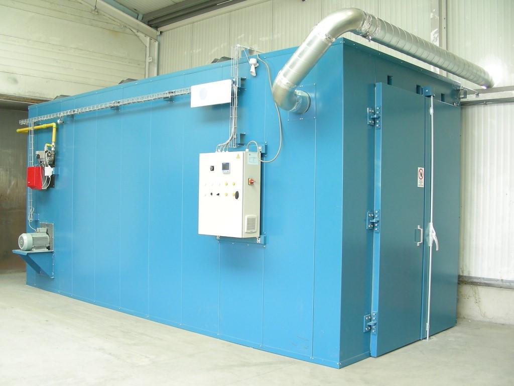 Industriële oven met afblaaskanalisatie door de muur