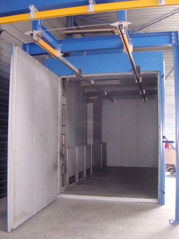 Oven voor polymerisatie van poeder met ingebouwd railsysteem
