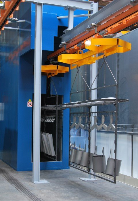 Manuel load beams pulled automatically through a continuous oven