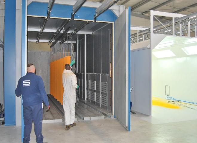 Four polymérisation box pour la thermolaquage ; chauffage par bruleur gaz directe