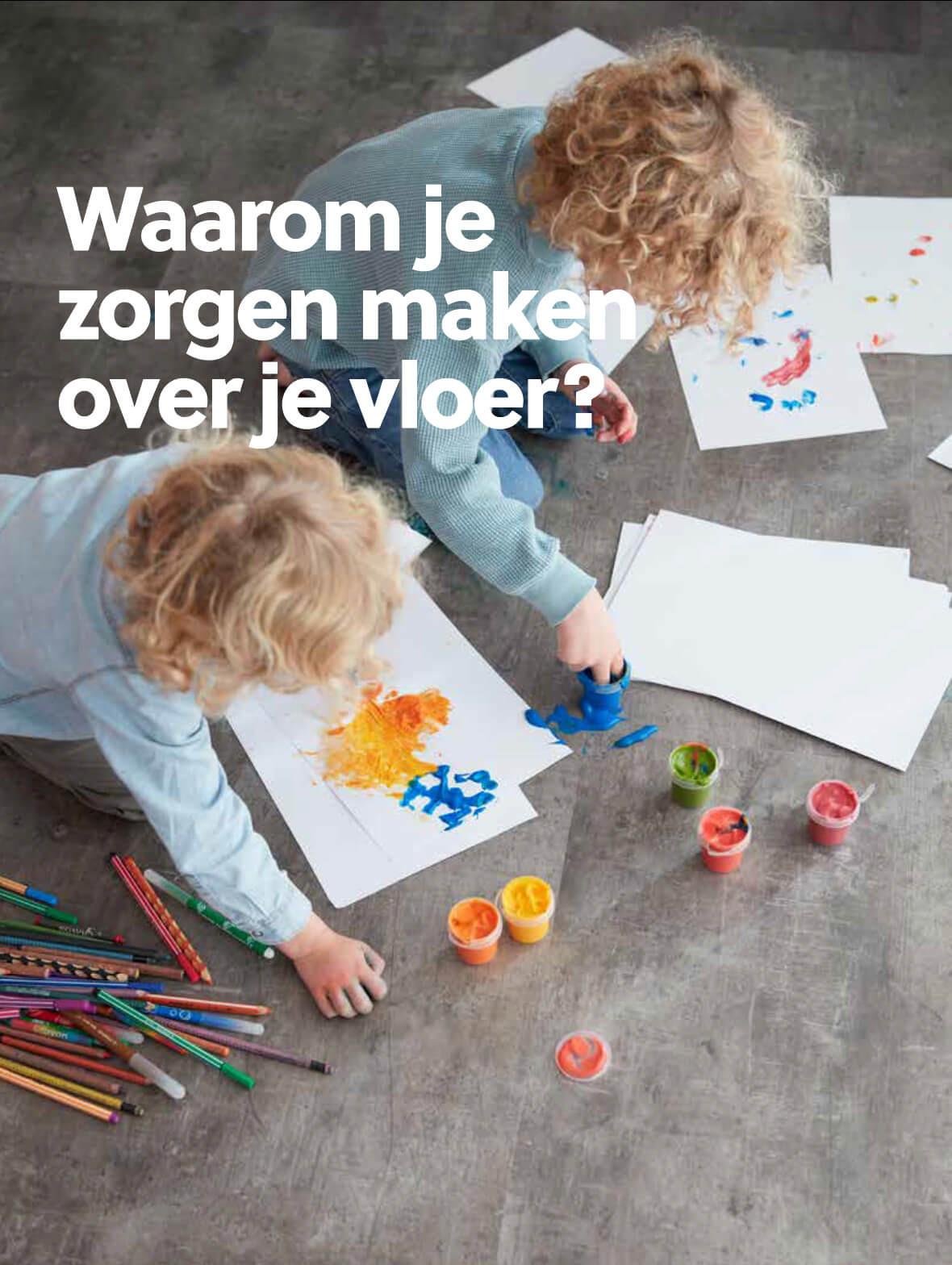 Waarom je zorgen maken over je vloer? Kinderen schilderen en tekenen op vloer