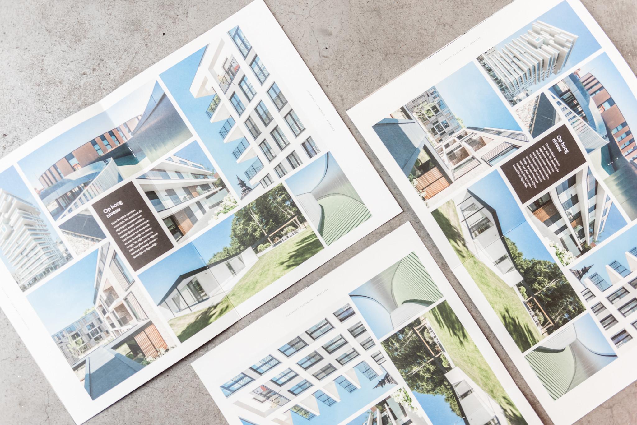 Detail van de fotografie in het bedrijfsblad van Claerhout Aluminium