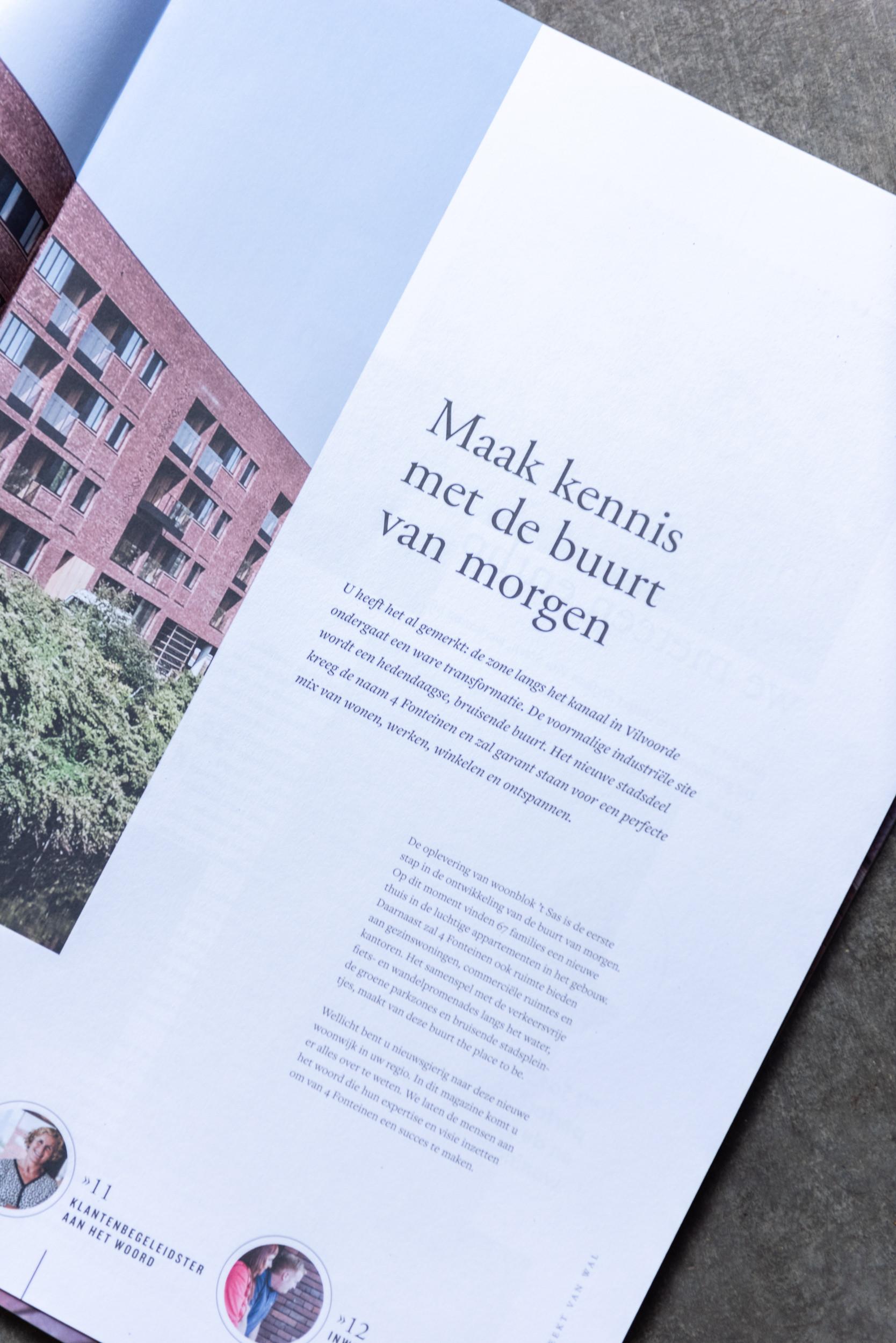 Detail van het magazine van het 4 Fonteinen-project van Matexi