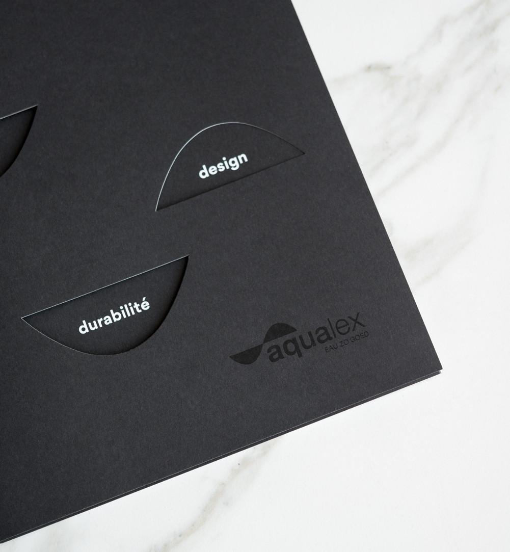 Voor Aqualex maakten we deze stijlvolle b2b-brochure