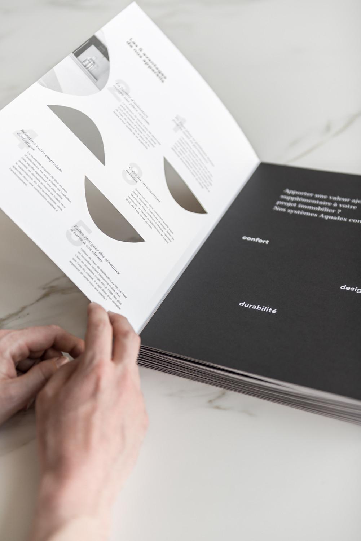 Voor Aqualex creëerden we deze stijlvolle b2b-brochure