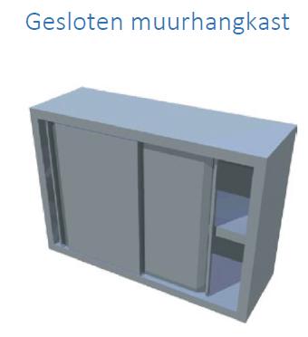 2 niveau's gesloten voorzijde schuifdeuren 1400x350x700