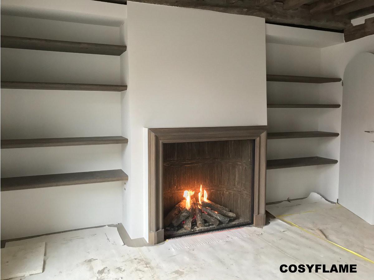 Cosyflame Incognito gesloten gashaard met wand van oude verzaagde dakpannen speciaal patroon