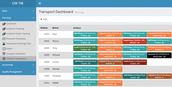 Via the C&W TMS Portal (cloud platform)	Planning and following up of transport orders	Tool for both transport operators as for planners	Orders can be easily created on the basis of...