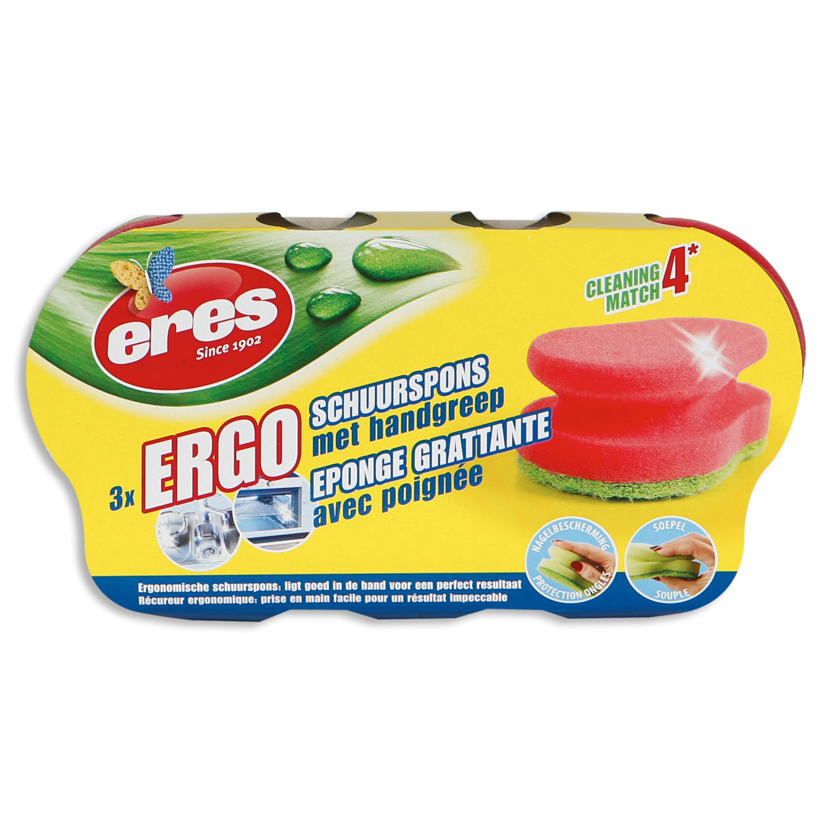 ERGO ABRASIVE SPONGE WITH HANDLE (PER 3 )