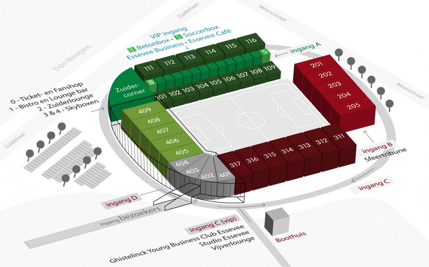 Regenboogstadion - Stadionplan