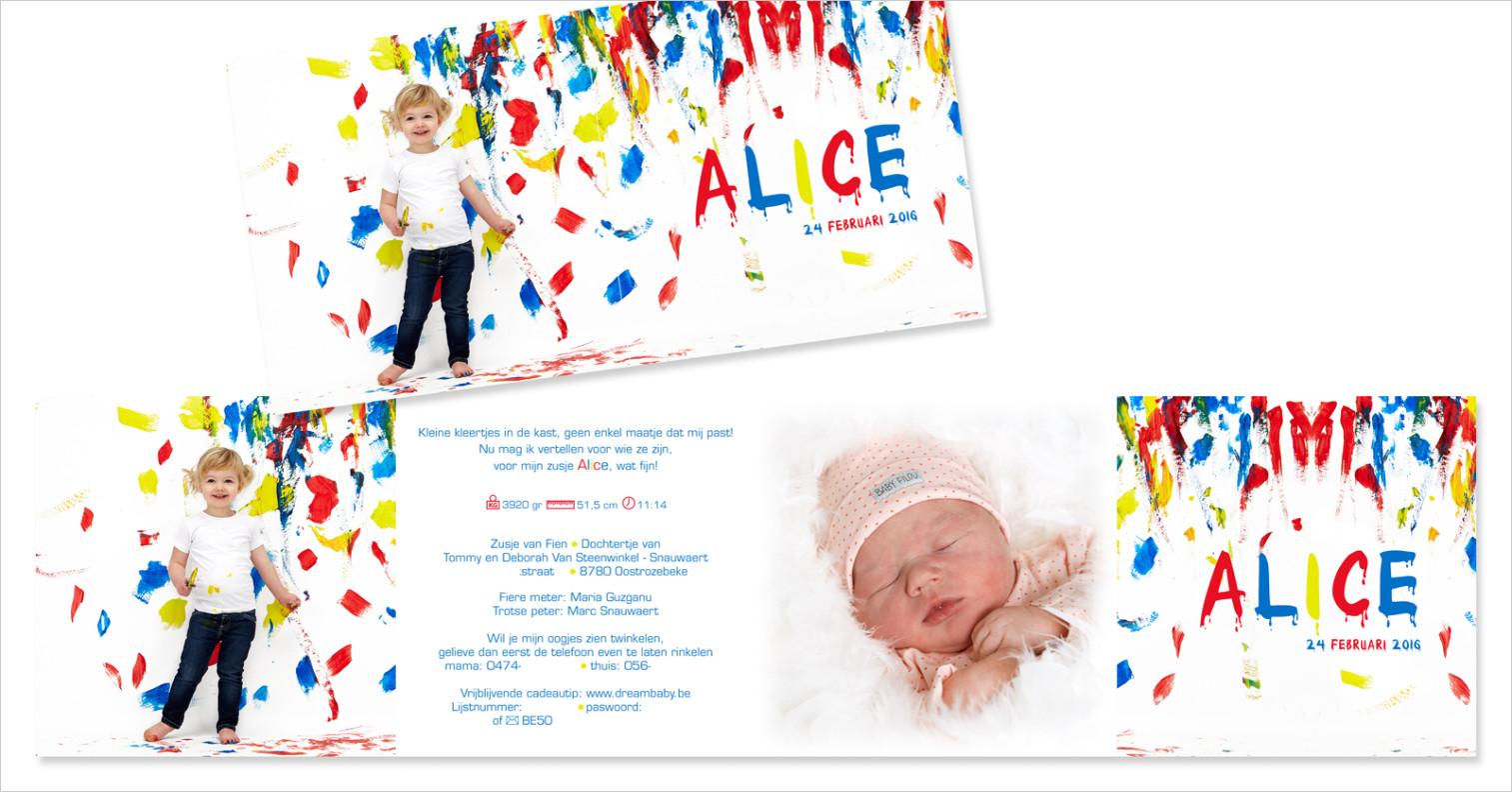Geboortekaartje met foto van Alice