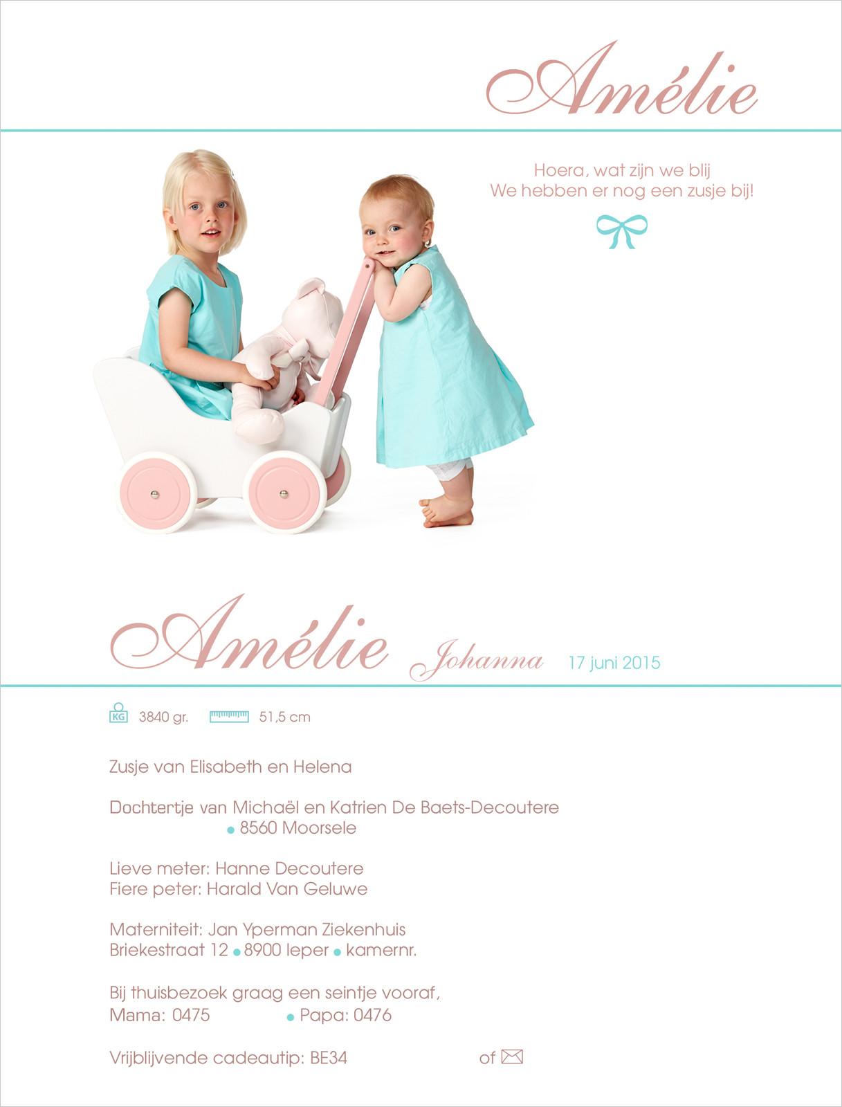 Geboortekaartje met foto van Amélie