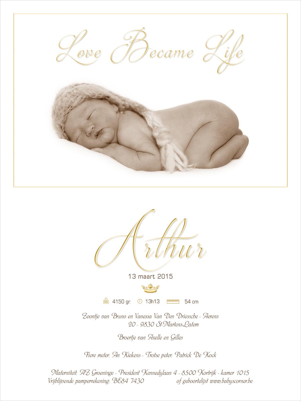 Geboortekaartje met foto van Arthur