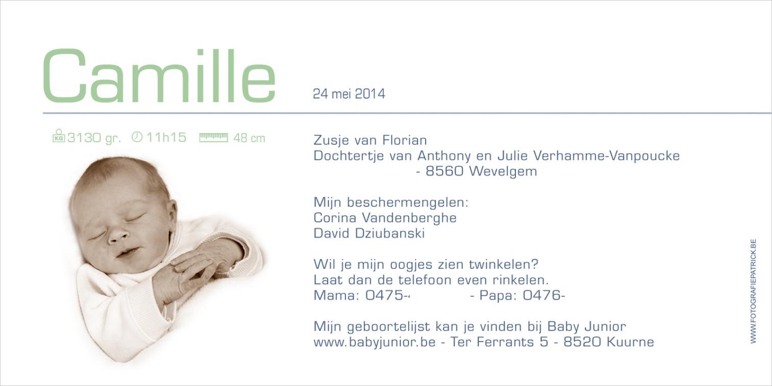 Geboortekaartje met foto van Camille