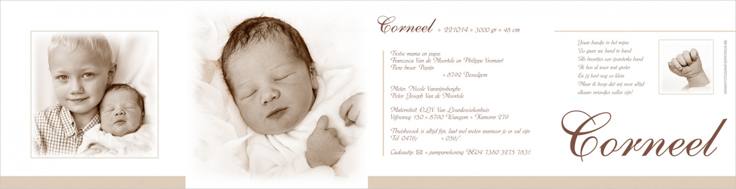 Geboortekaartje met foto van Corneel