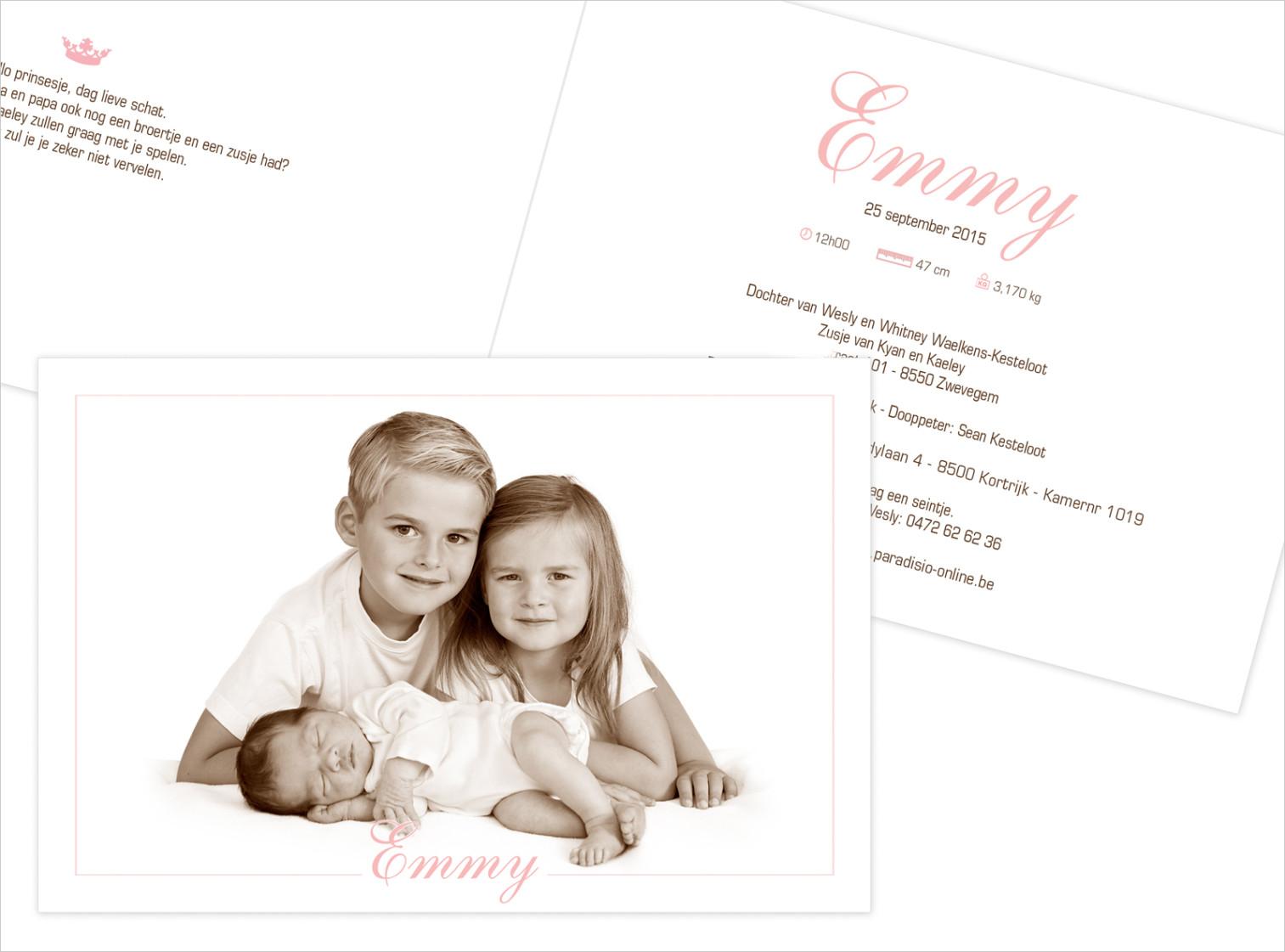 Geboortekaartje met foto van Emmy
