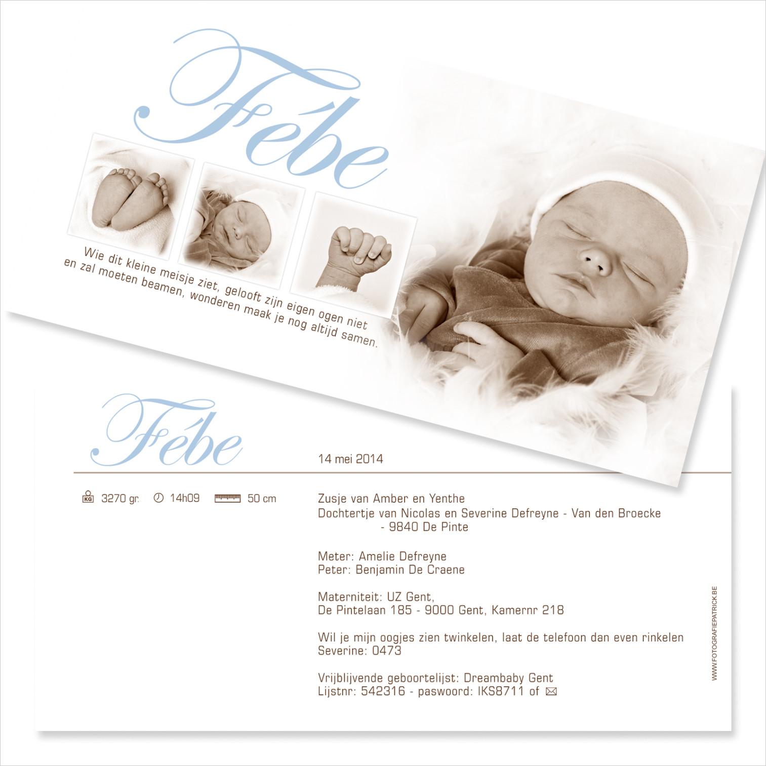 Geboortekaartje met foto van Febe