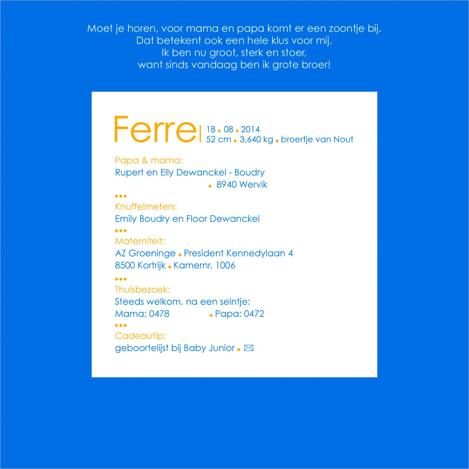 Geboortekaartje met foto van Ferre
