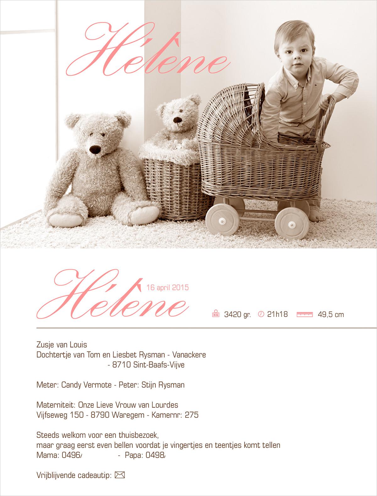 Geboortekaartje met foto van Helene