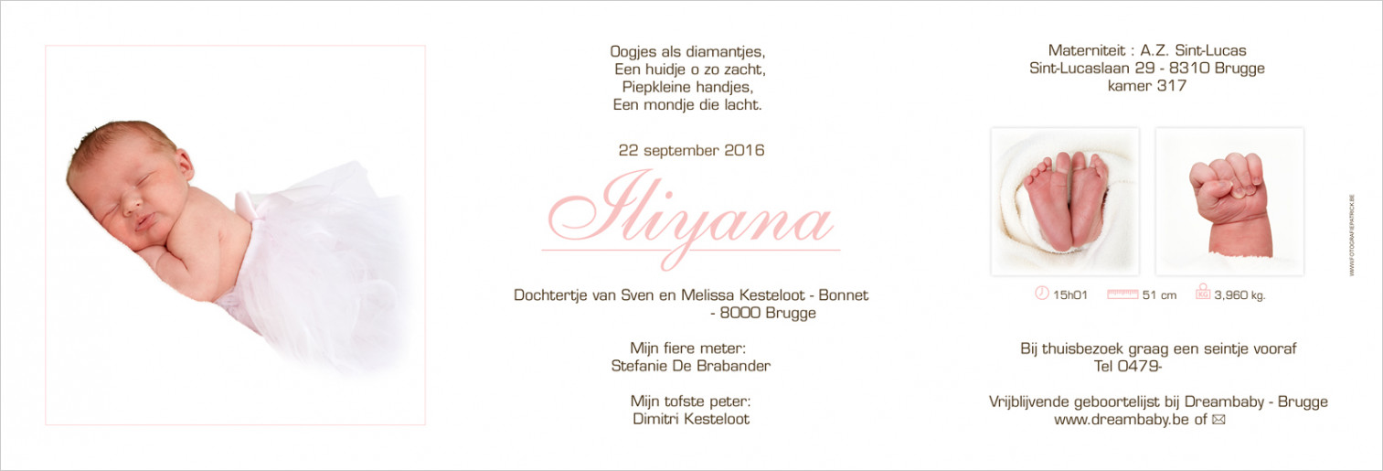 Geboortekaartje met foto van Iliyana