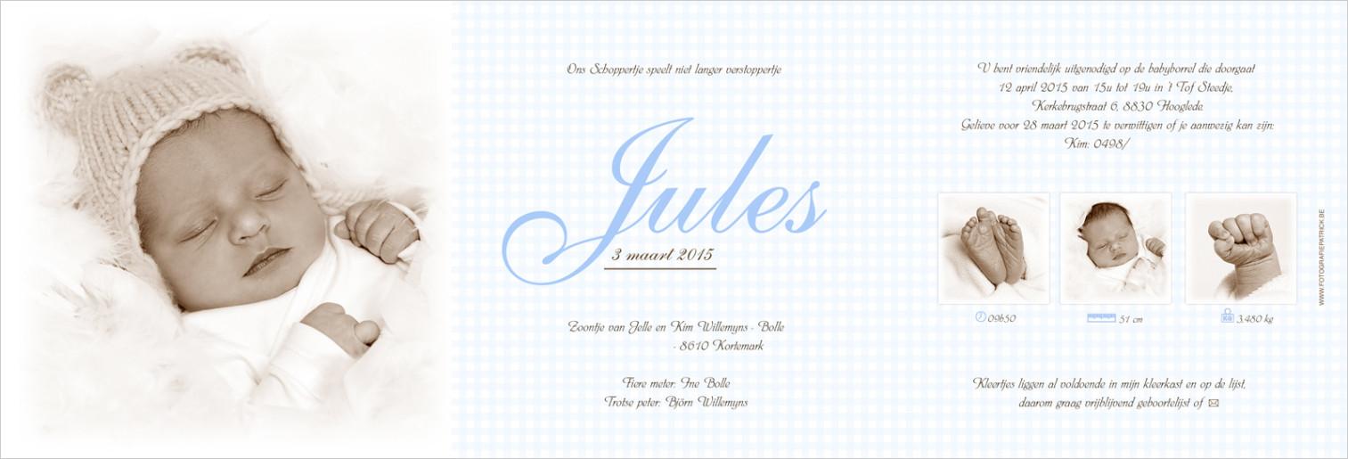 Geboortekaartje met foto van Jules