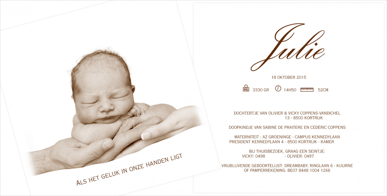 Geboortekaartje met foto van Julie