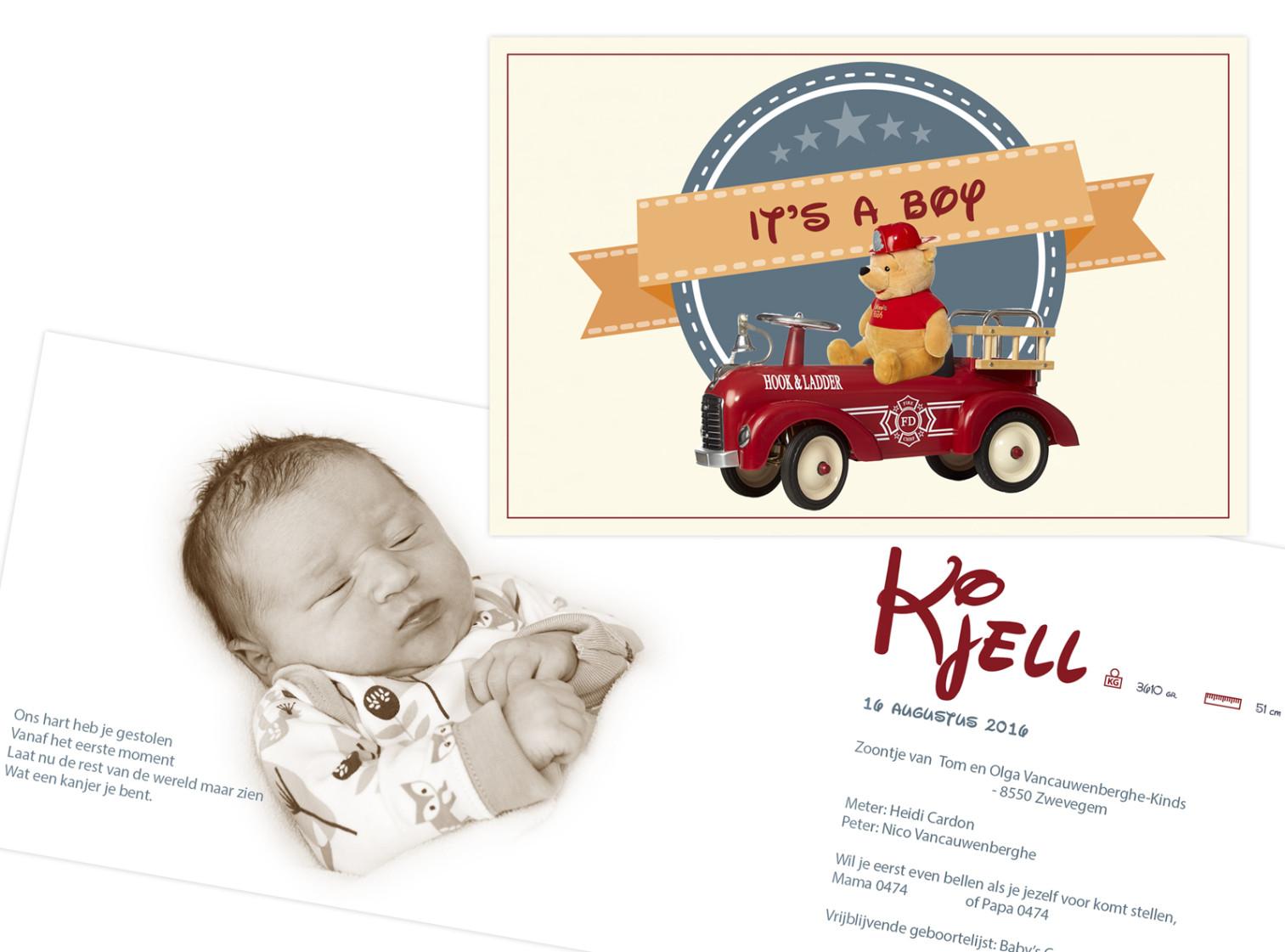 Geboortekaartje met foto van Kjell