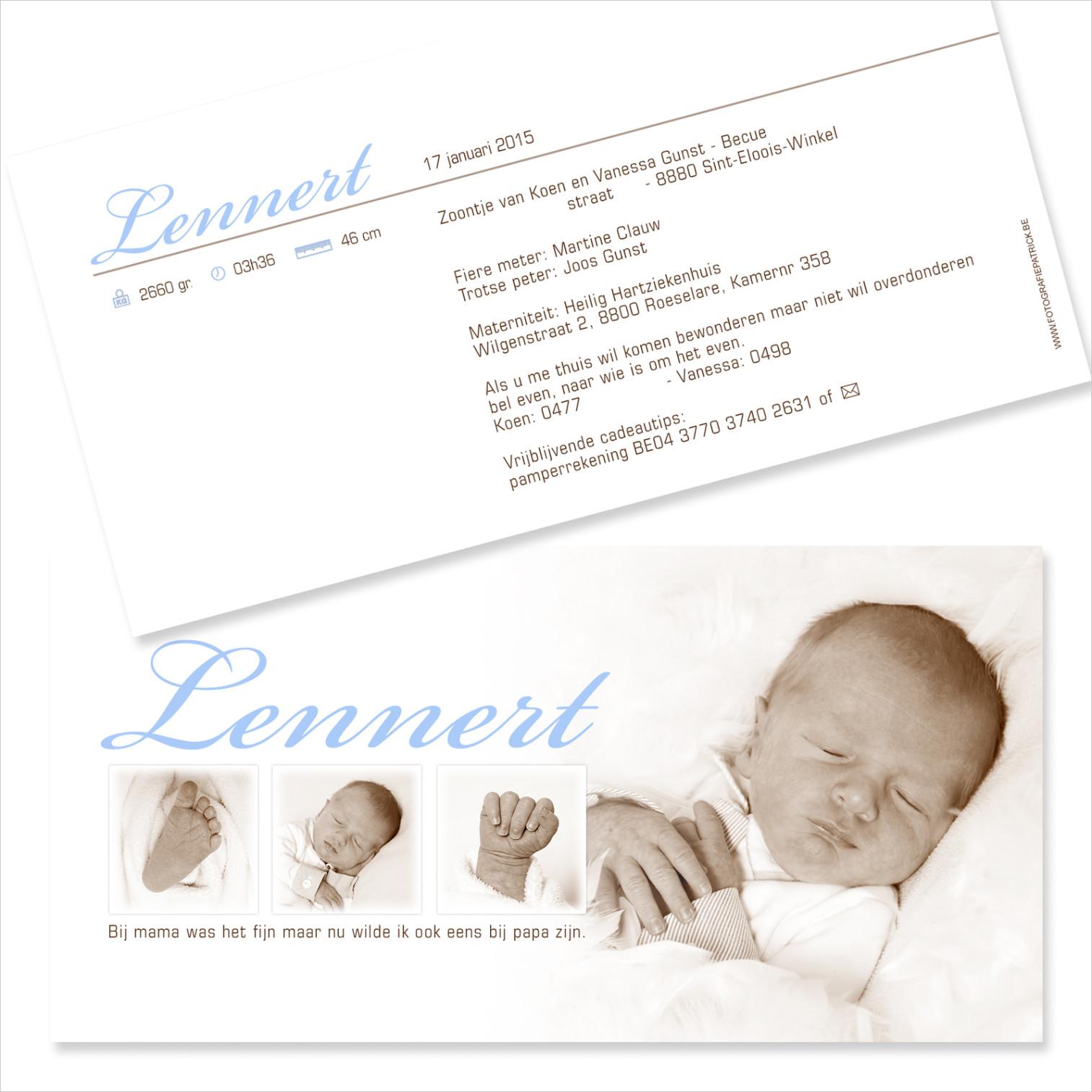 Geboortekaartje met foto van Lennert