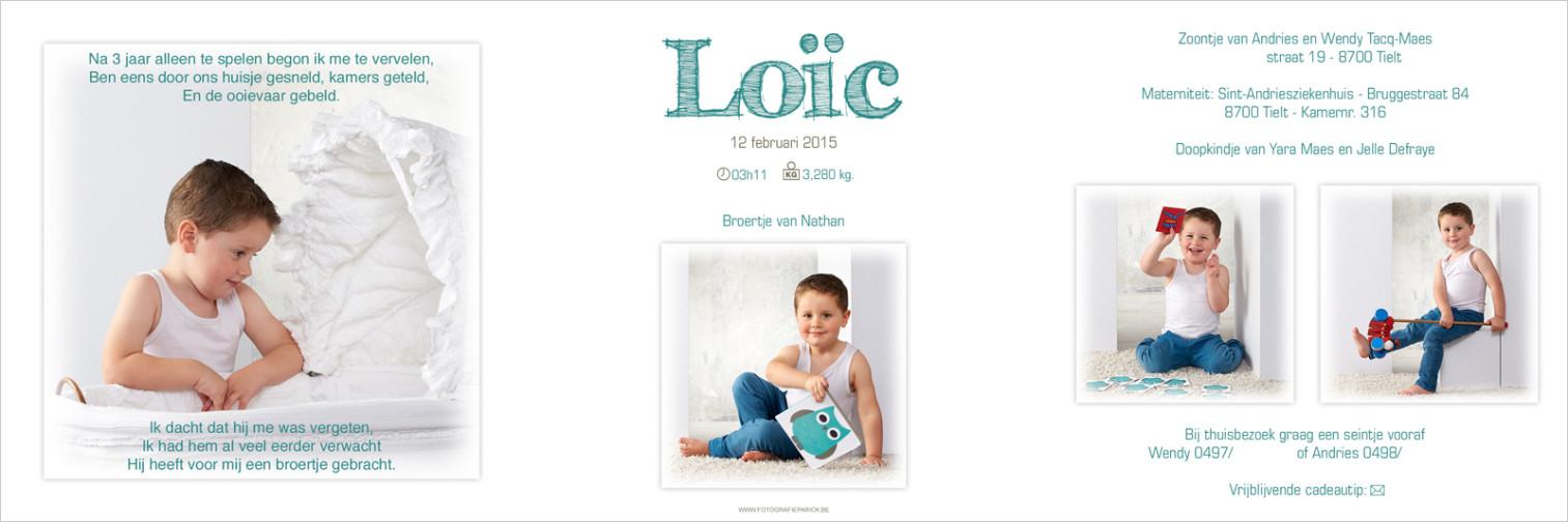 Geboortekaartje met foto van Loic