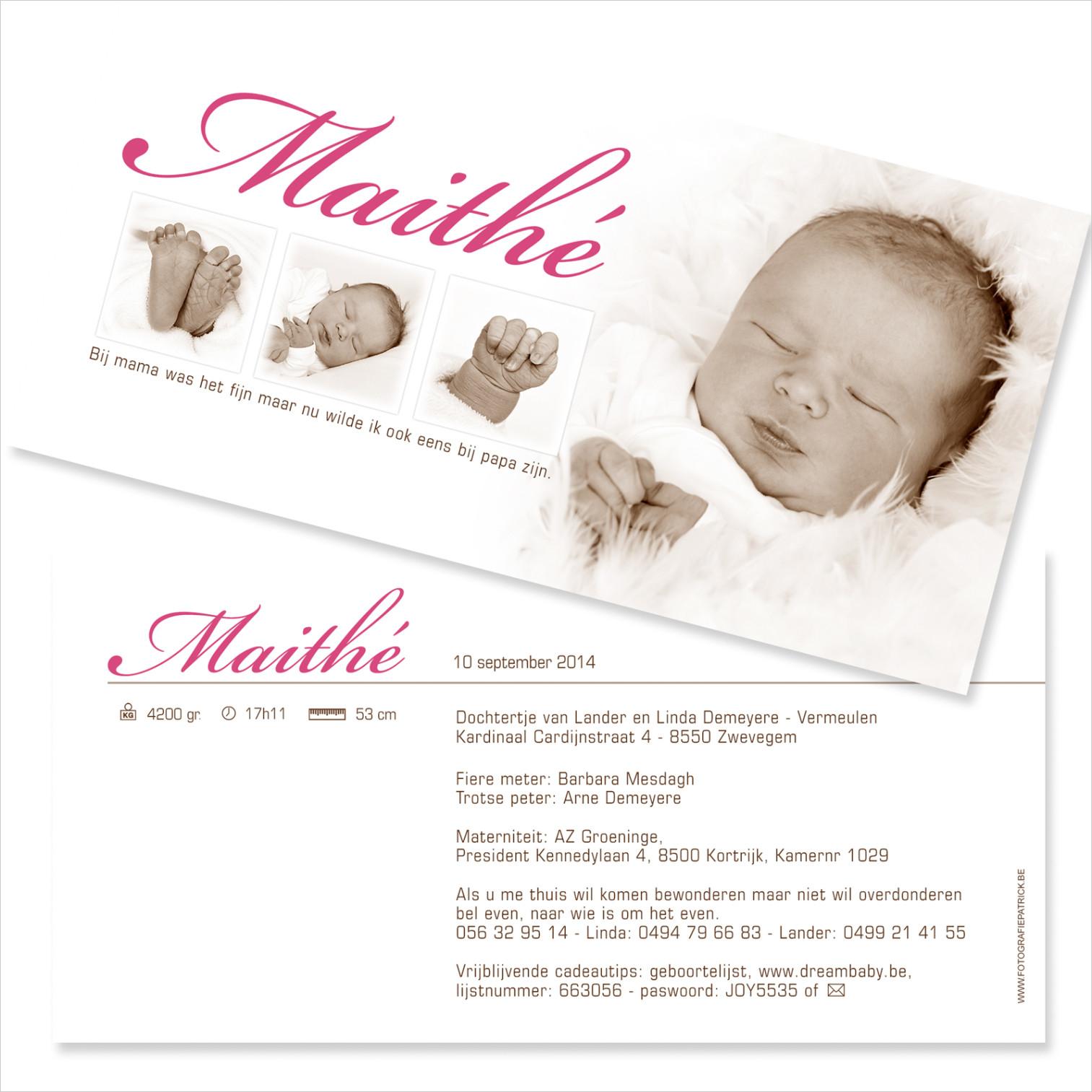 Geboortekaartje met foto van Maithé